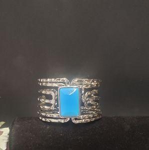 Unique Silver tone & Blue Stone Bracelet
